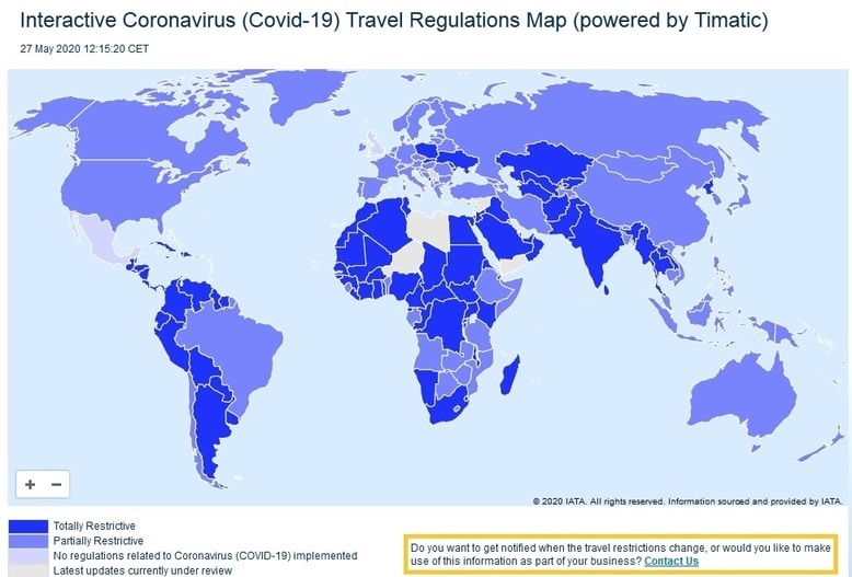 Travel regulations map (corona)